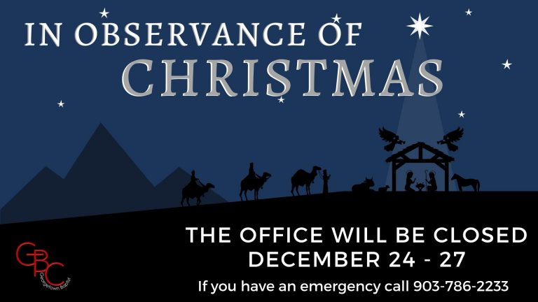 In observance of Christmas